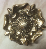 Vintage Miracle Brooch - Pale Gold Colour Tudor Rose Brooch by Miracle (SOLD)